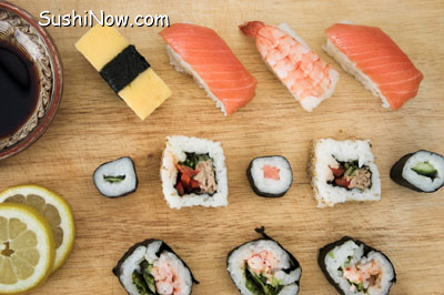 Sushi on Cutting Board Presentation